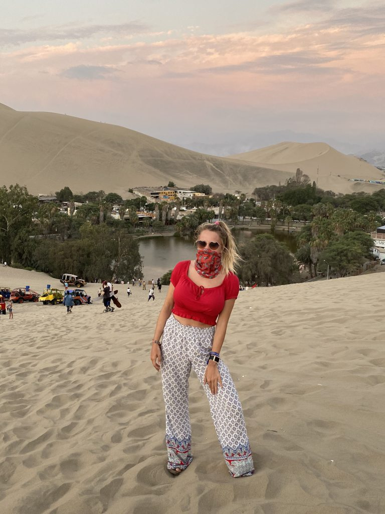 Mickelle in center of Huacachina, Peru
