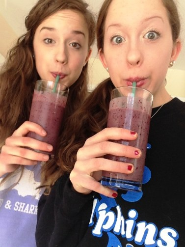 my teenage daughters drinking homemade fruit-yogurt smoothies instead of blizzards!