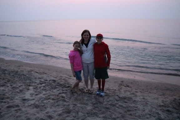 Me with my two youngest children at the Indiana Dunes at sunset