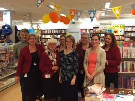 Shop staff from a large store on Urk. Nearly 75 people came to listen to me talk about books. Amazing! The lady in orange was my translator. She immigrated from Canada to the Netherlands as a child.