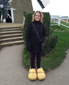 Had to get a picture in the wooden clogs. These might have been a tad too big. Ha!