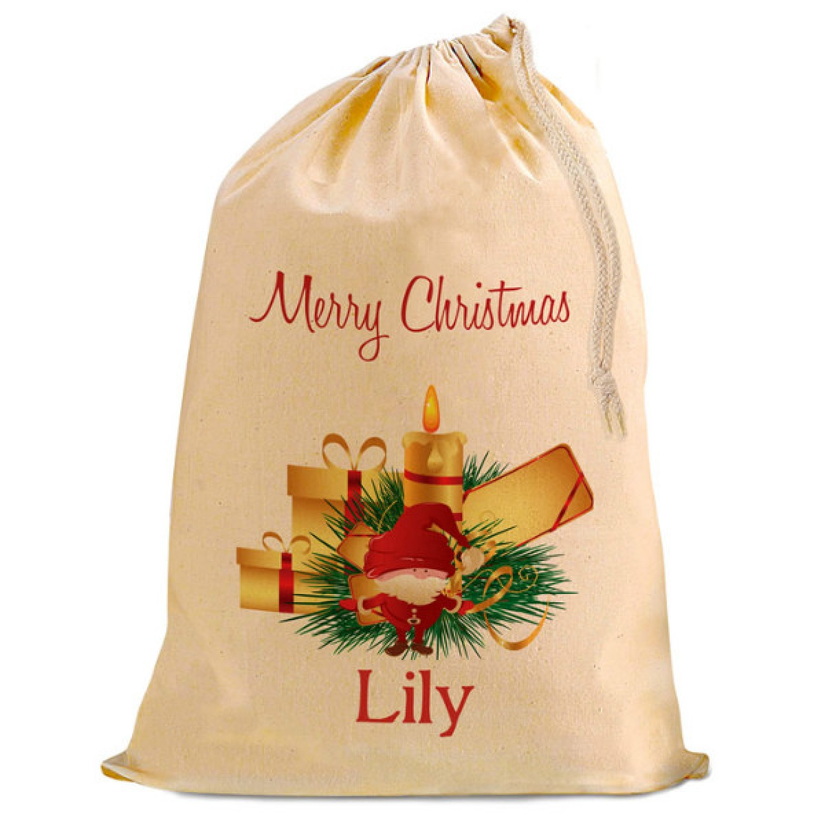 Christmas Santa Present T Sack Natural Cotton