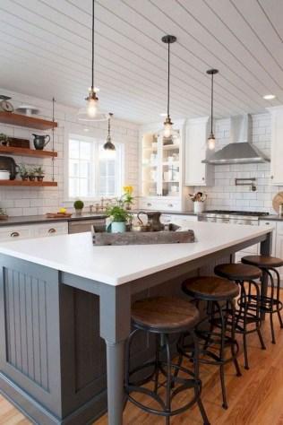 70+ Amazing Farmhouse Gray Kitchen Cabinet Design Ideas 12