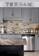 70+ Amazing Farmhouse Gray Kitchen Cabinet Design Ideas 41