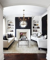 93+ Comfy Apartment Living Room in Black and White Style Ideas (37)