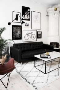 93+ Comfy Apartment Living Room in Black and White Style Ideas (68)
