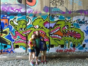 Jennifer Bourn and Kids in Abandoned Train Tunnel Hike