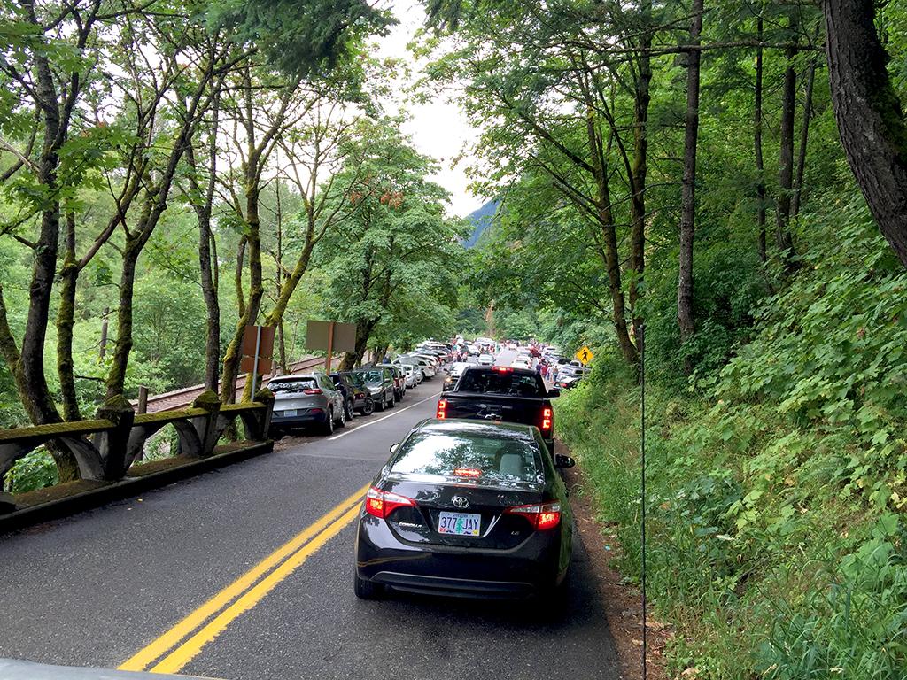 Traffic At Multnomah Falls