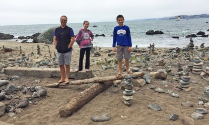Rock Stacking at Mile Rock Beach in San Francisco
