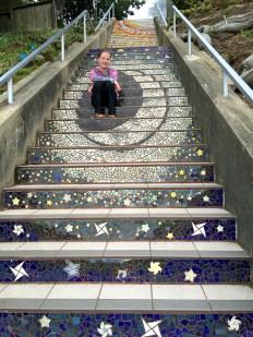 San Francisco 16th Avenue Tiled Steps Night Sky Theme Mosaic