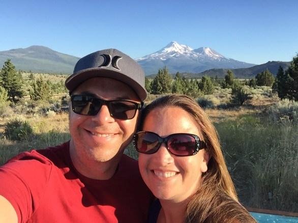 Brian and Jennifer Bourn viewing Mount Shasta California