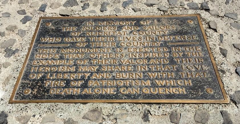 Washington Stonehenge War Memorial Plaque
