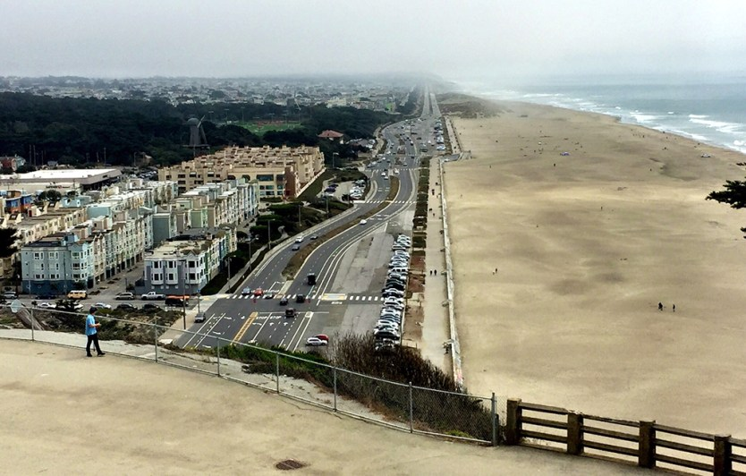 View of San Francisco's Ocean Beach from the Sutro House Gardens Lookout