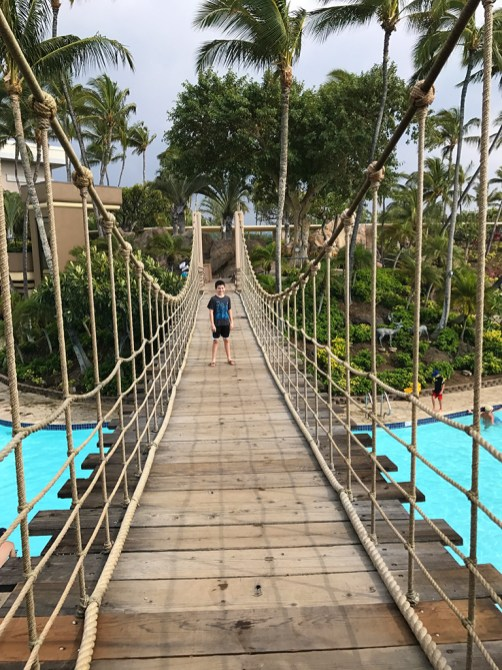 Wooden Suspension Bridge over the Hilton Waikoloa Pools