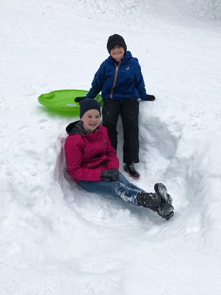 Paying in the Snow and Sledding at the Donner Summit Sno-Park