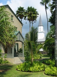 Hulihe'e Palace With Mokuaikaua Church In The Background