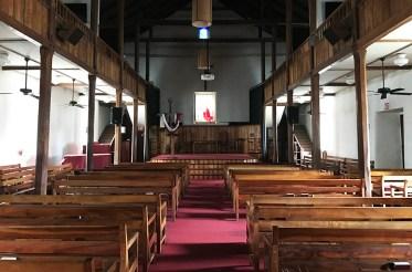 Inside Moku'aikaua Church in Kona, Hawaii