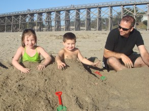 Playing in the Sand At Pudding Creek Beach in 2010