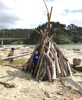 Carter Bourn Playing In Big River Beach Driftwood Structures