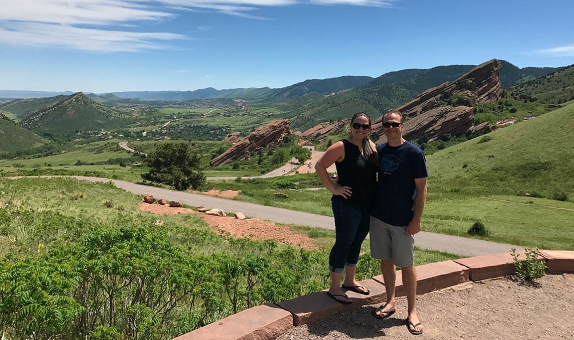 Brian and Jennifer Bourn at Red Rocks Park and Amphitheater