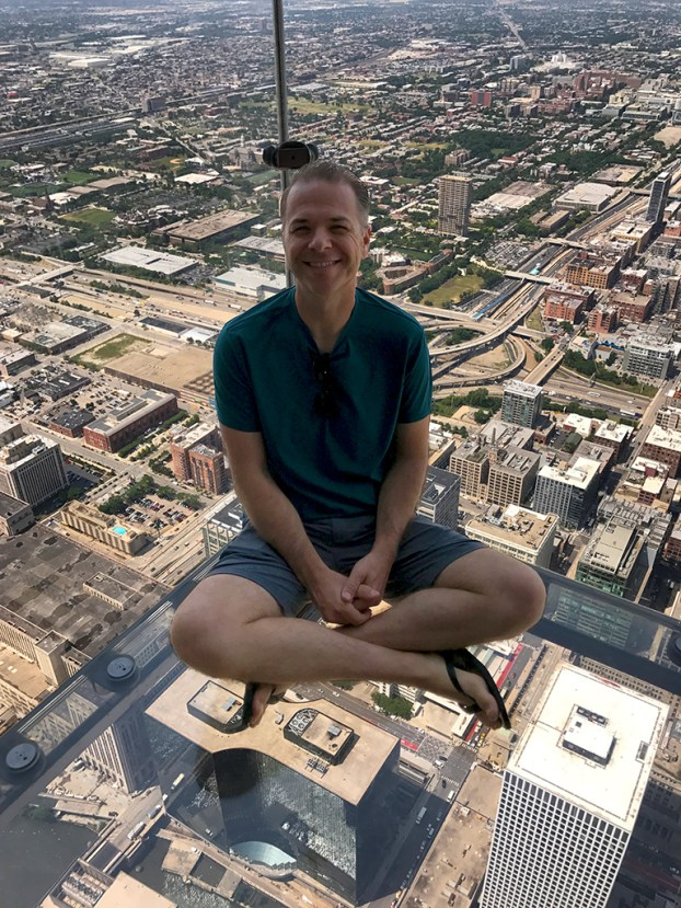 Brian Bourn on The Ledge at Skydeck Chicago