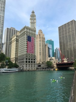 Chicago Riverwalk and the Wrigley Building