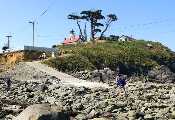 Brian and Carter walking to the Battery Point Lighthouse During Low Tide