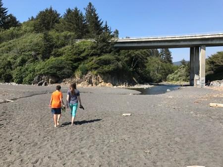 Carter and Natalie walking on False Klamath Cove Beach