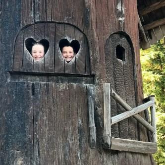 Carved Redwood Tree PLayhouses at Shrine Drive Thru Tree Park
