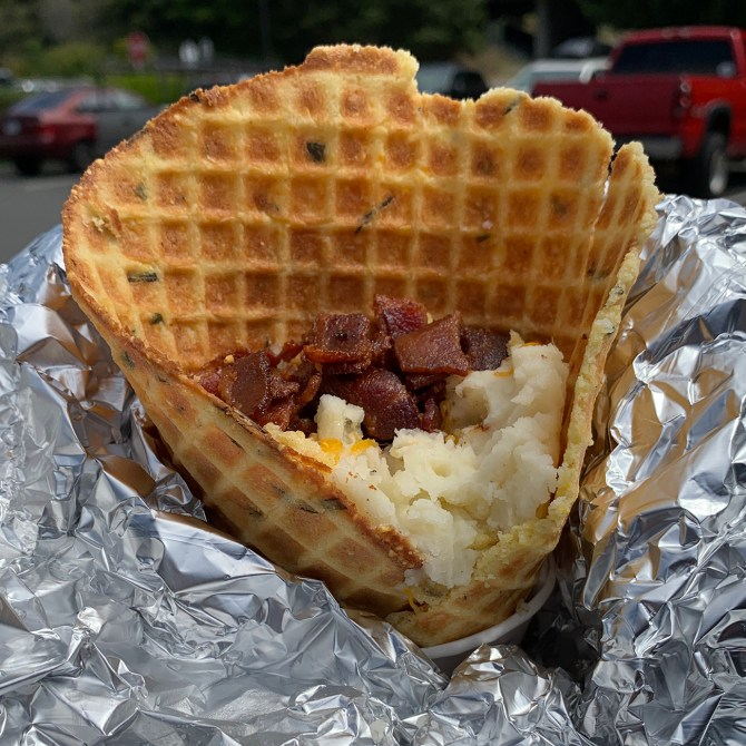 Loaded Mashed Potato Cone To Go At Trinidad Lighthouse Grill