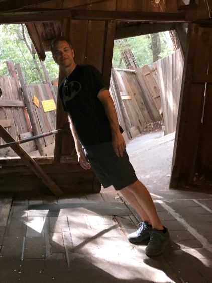 Brian Bourn inside the Gravity House near Leggett and Piercy, California