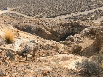 Abandoned Gold Mine with Open Mine Shaft in Death Valley