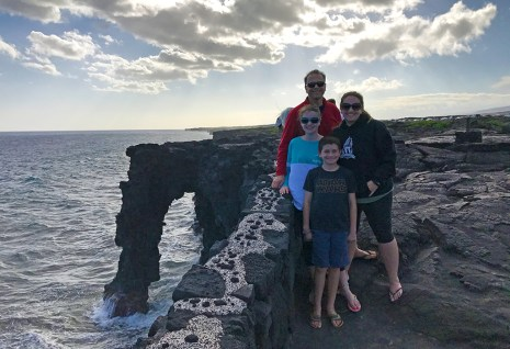 Bourn Family at the Holei Sea Arch in Hawaii