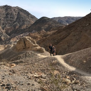 Brian and Carter Bourn hiking the Mosaic Canyon Trail