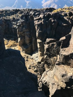 Chasm Below the Fossil Falls Dry Waterfall
