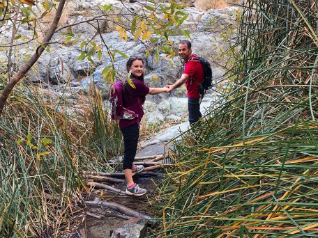 Crossing The Creek On The Darwin Falls Trail