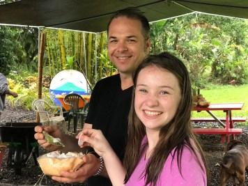 Eating Fresh Coconut at a local Hawaiian Farm