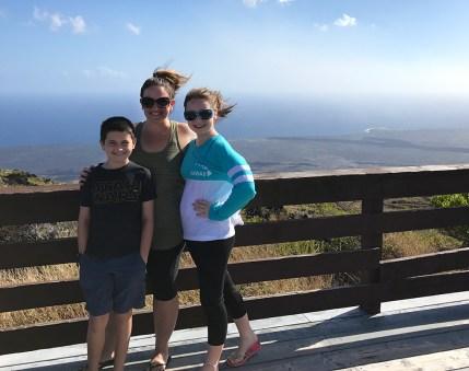 Jennifer Bourn and Kids at the Kealakomo Lookout