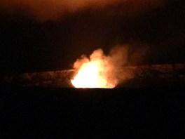 Kilauea Crater Lava Eruption at Night