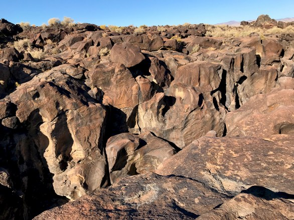 Looking Across the 40 Foot Deep Fossil Falls Canyon Toward Red Hill