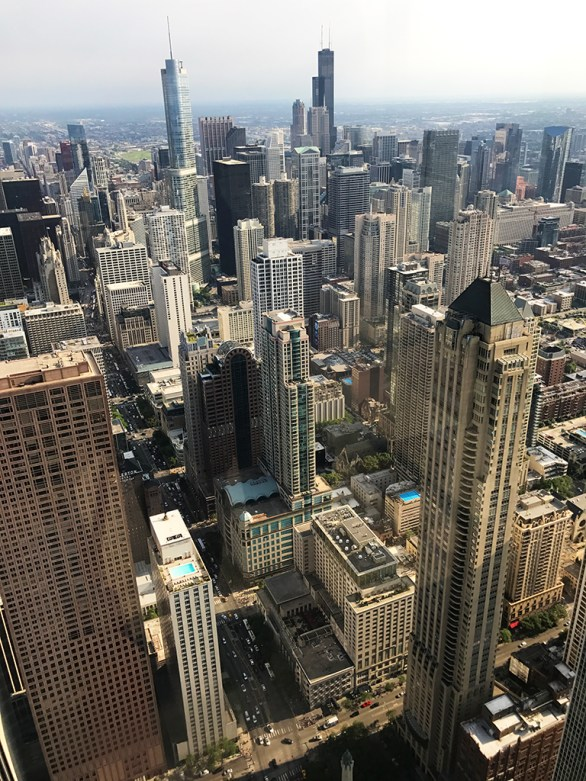 View of Downtown Chicago from 360 Chicago