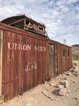 Abandoned Caboose Used as an Old Service Station at Rhyolite Townsite