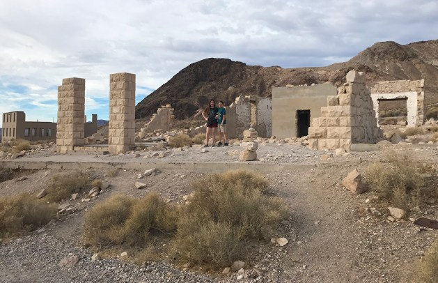 Natalie and Carter at Rhyolite Ghost Town near Death Valley National Park