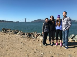 Bourn Family in San Francisco with a View Of The Golden Gate Bridge