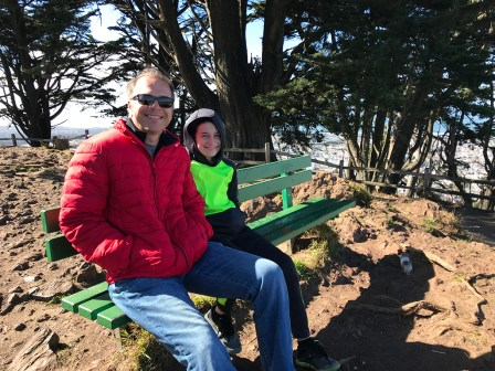 Brian and Carter Bourn sitting at the top of Grand View Park