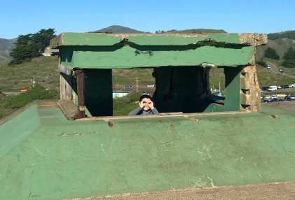 Carter Bourn in the Lookout Tower at Battery Mendell