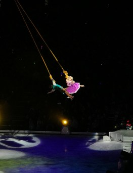 Rapunzel and Flynn Rider Performing on Aerial Silk Ribbons