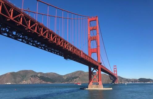 Helicopter Flying Under The Golden Gate Bridge