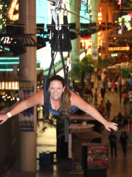 Jennifer Bourn Ziplining Down Fremont Street