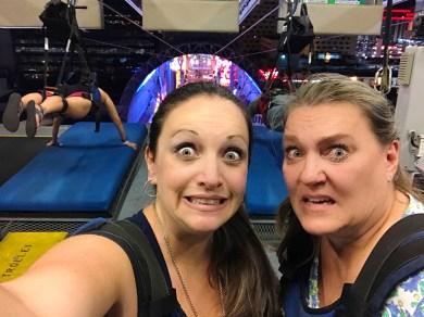 Jennifer Bourn and Jeanne Mabry at the SlotZilla Zipline in Las Vegas